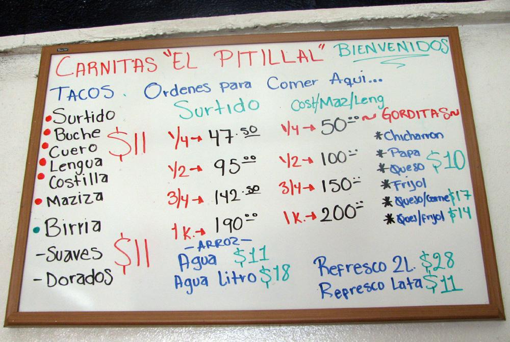 Carnitas El Pitillal Menu