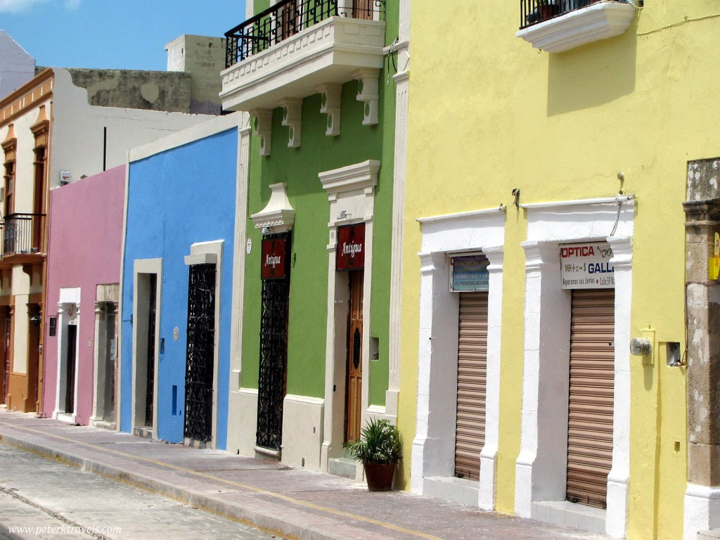 Brightly colored buildings in Campeche