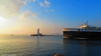 Ludington Light with S.S. Badger