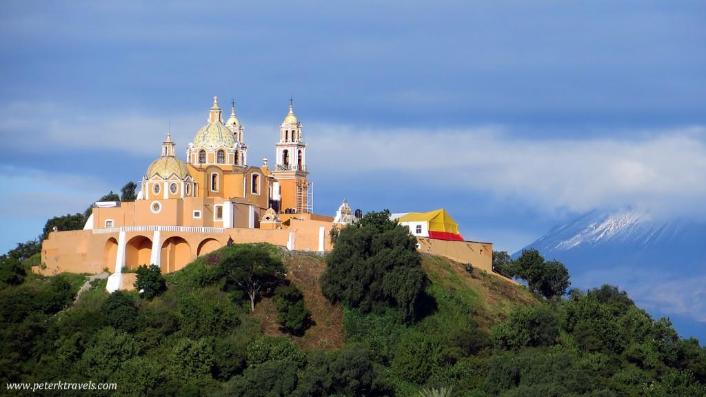 Iglesia de Nuestra Señora de los Remedios and Popocatepetl