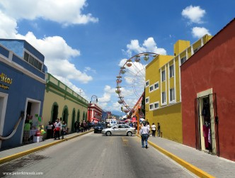 Cholula Street View With Ferris Wheel.