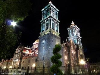 Puebla Cathedral at Night