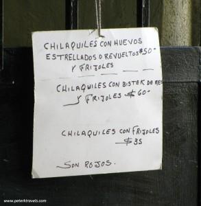 Chilaquiles sign, Las Tres Huastecas, Puerto Vallarta