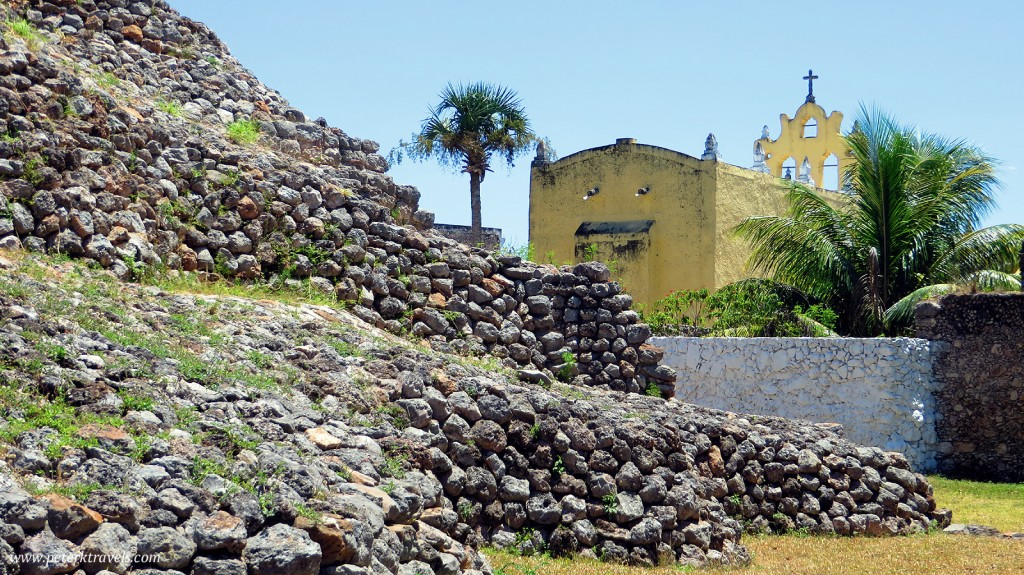 Pyramid and backside of Church of the Virgin of Guadalupe, Acanceh.