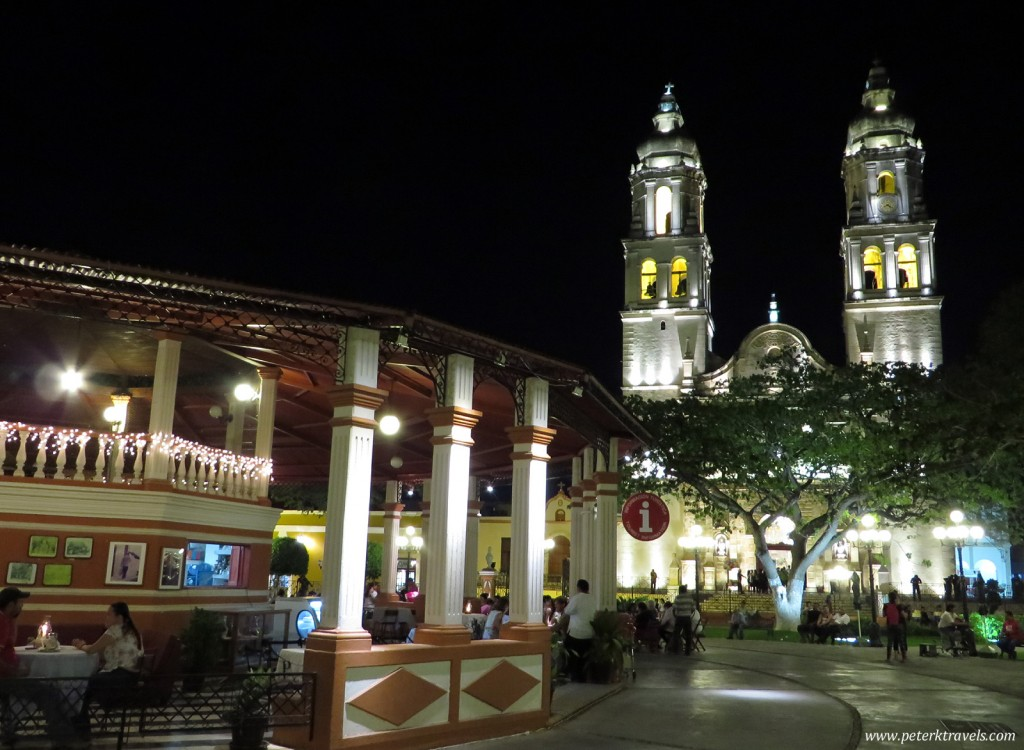 Campeche square and Cathedral.