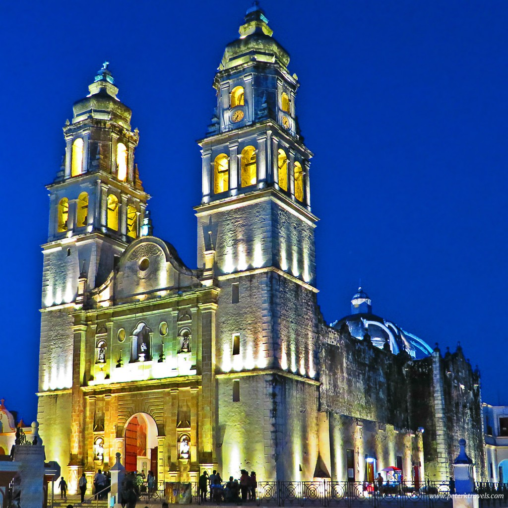 Campeche Cathedral at sunset in HDR style.