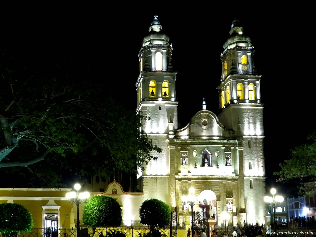 Campeche Cathedral at night.
