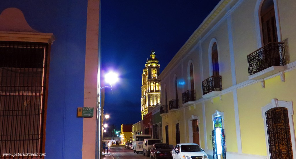 Street view looking toward Campeche Cathedral.