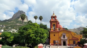 Bernal church with Peña de Bernal in the distance.