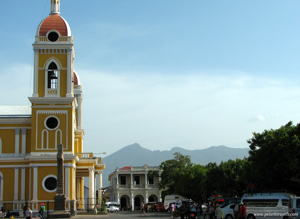 Cathedral with Volcan Mombacho in background