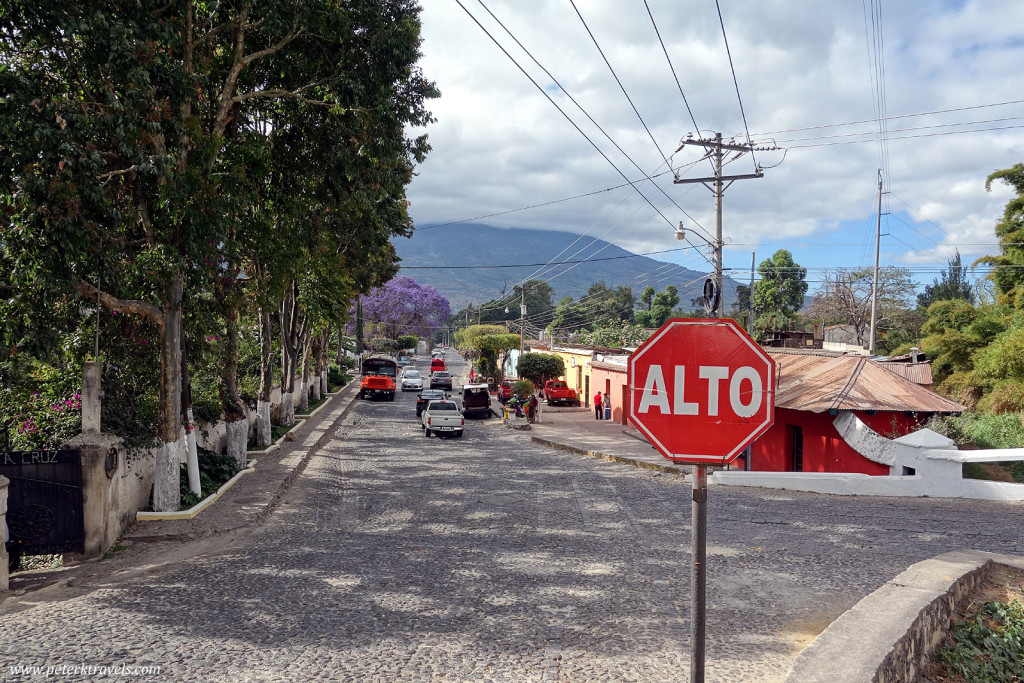 Stop sign on the southeast side of Antigua Guatemala