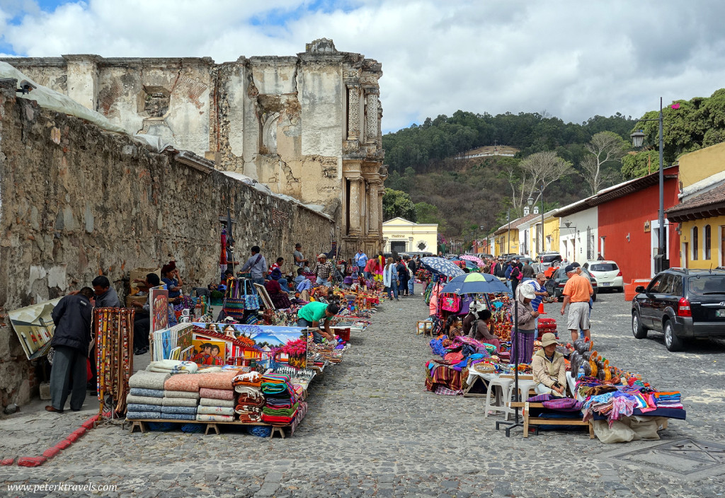 Vendors outside Ruinas Carmen, Antigua Guatemala