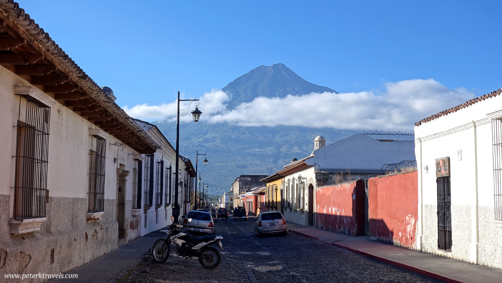 Early morning street view with Agua, Antigua Guatemala