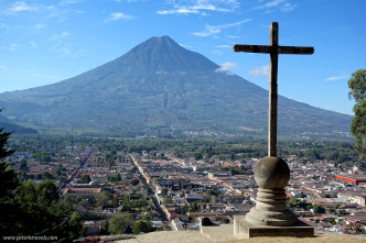 Agua volcano and cross with Antigua below.