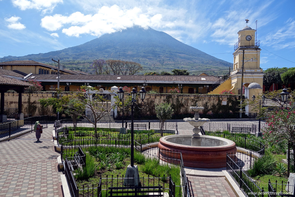 Square with clock tower and Volcan Pacaya, Ciudad Vieja.