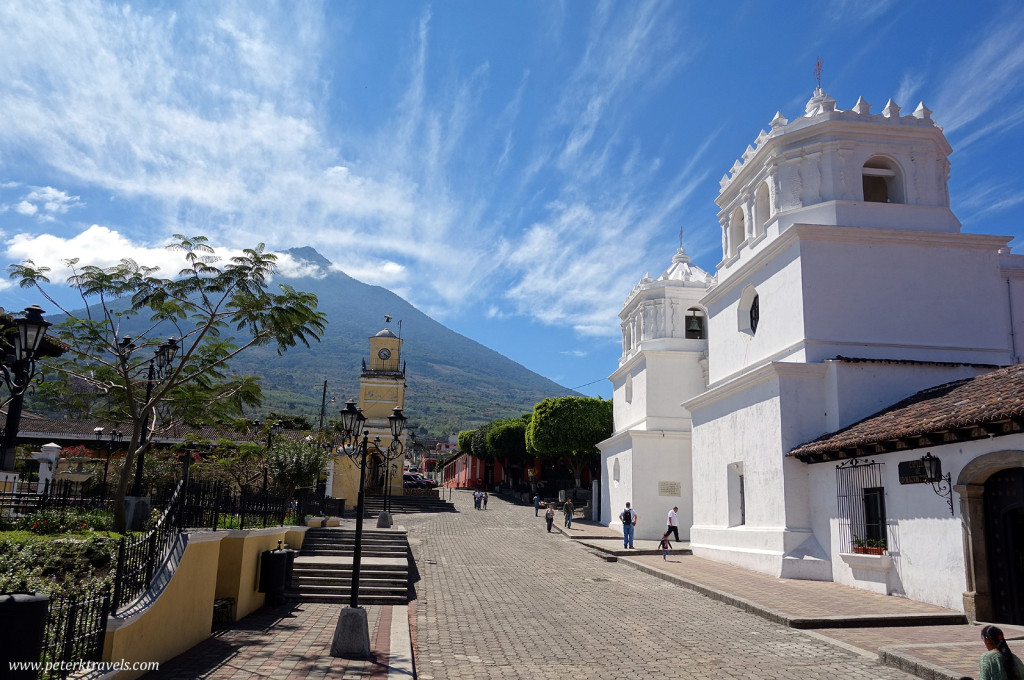 Facade of the church in Ciudad Vieja with Volcan Pacaya in the background.