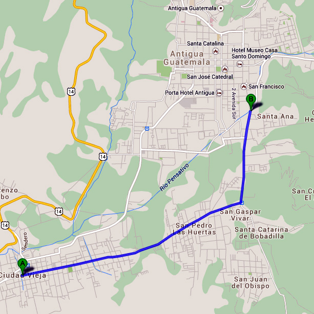 My route from Cidudad Vieja back to Antigua.