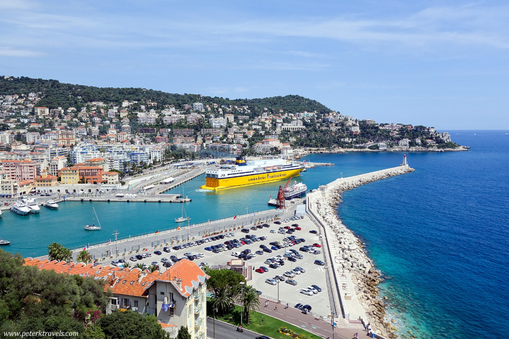 A car ferry leaves Nice, view from the Colline du Chateau overlook