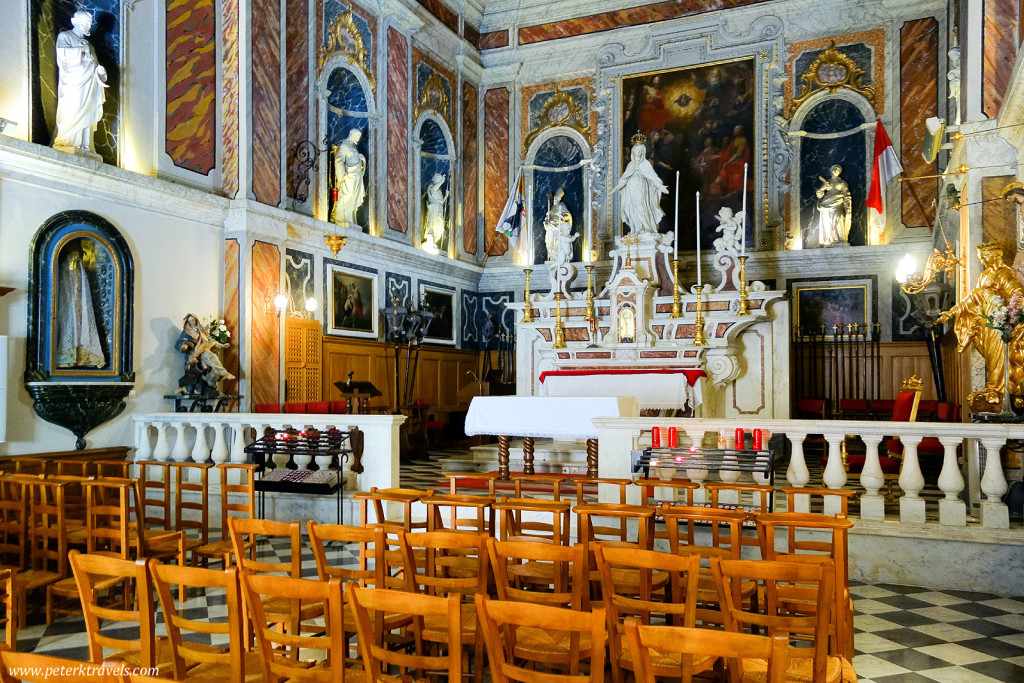 Inside small church, Monaco