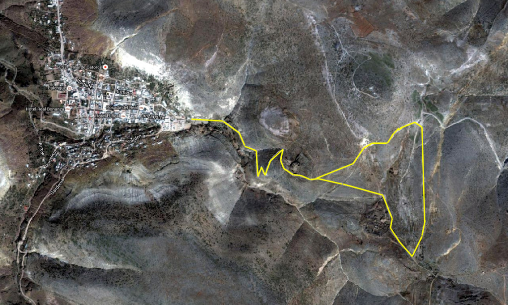 Route of a hike around Real de Catorce