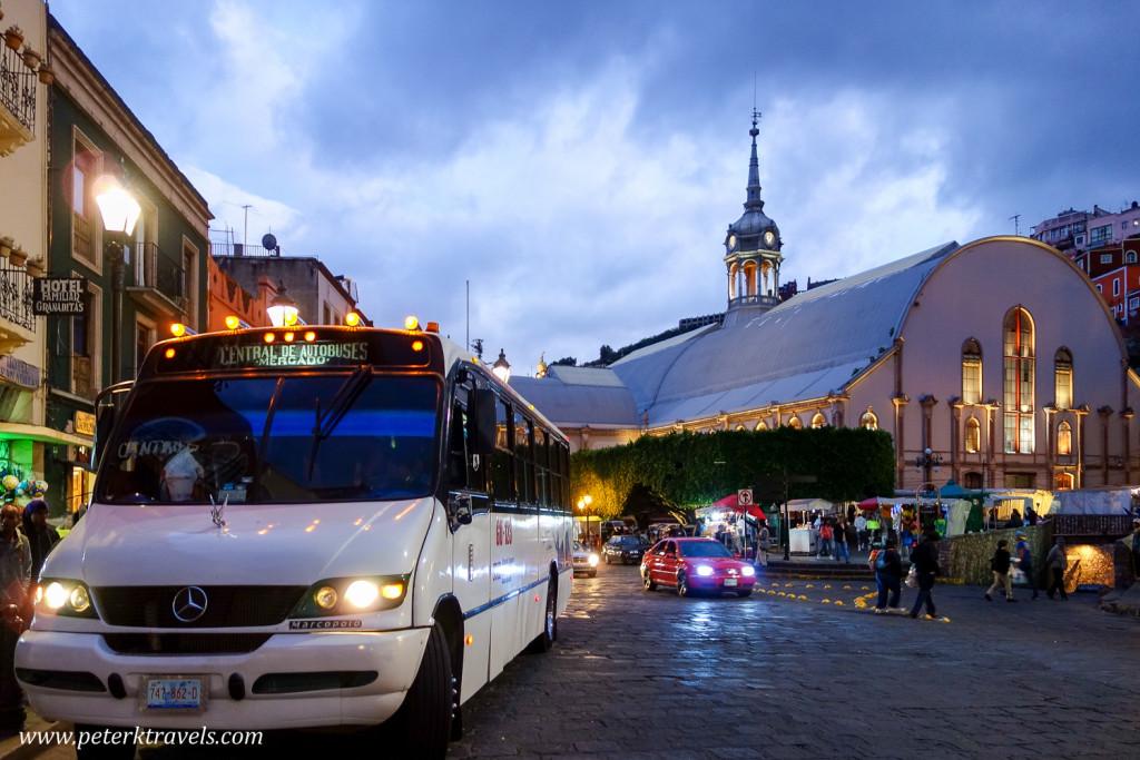 Mercado Hidalgo and Bus Stop, Guanajuato