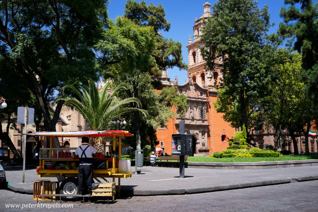 Fruit stand and Iglesia San Francisco, San Luis Potosi