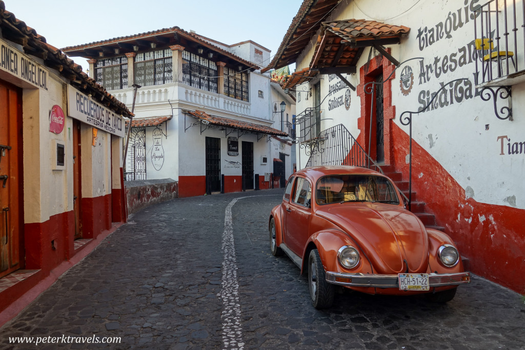 Orange Volkswagen Beetle, Taxco.