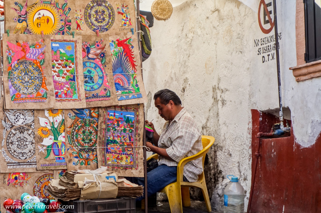 Amate bark paintings and vendor