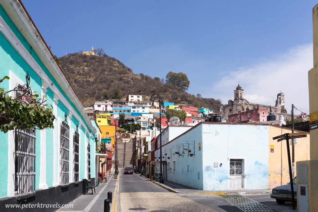 Atlixco street with Capilla de San Miguel and ex-Convento San Francisco.
