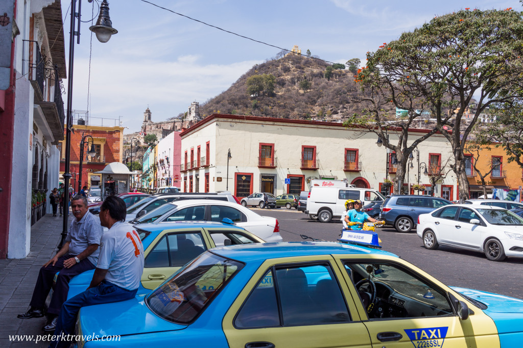 Atlixco square with Cerro San Miguel in the background.ground.