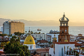 Iglesia Guadalupe Belltower and Pirate Ship at Sunset, Puerto Vallarta