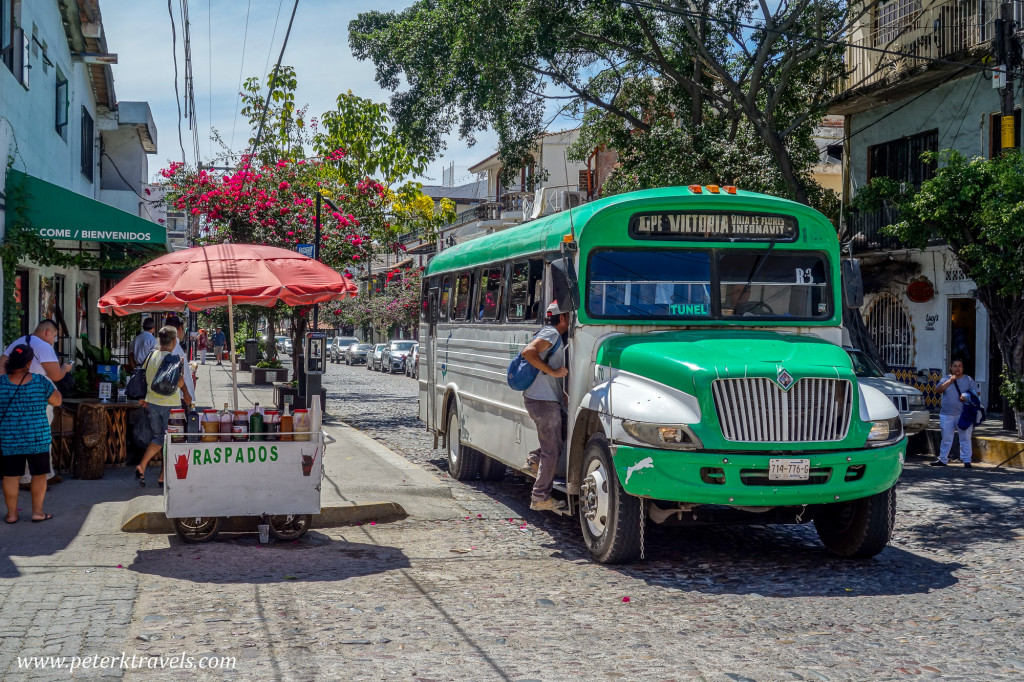 Bus and Raspados Stand, Puerto Vallarta