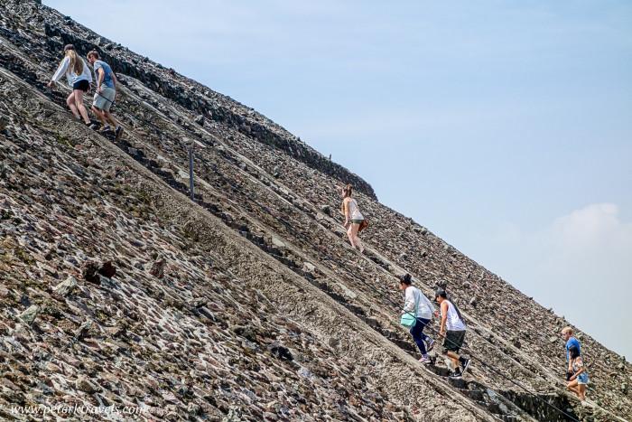 Climbing the Pyramid of the Sun, Teotihuacan.