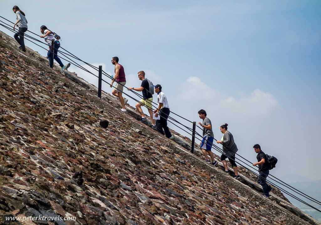 Climbing the Pyramid of the Sun, Teotihuacan.