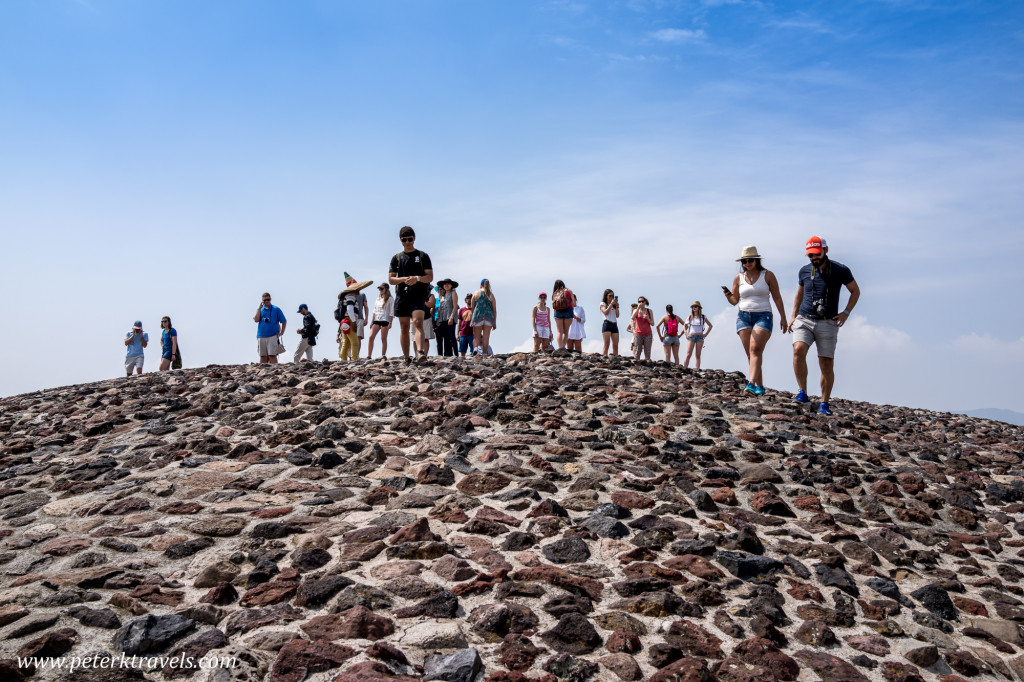 Tourists atop the Pyramid of the Sun, Teotihuacan.