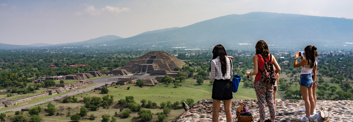 View of Pyramid of the Moon from the Pyramid of the Sun, Teotihuacan.