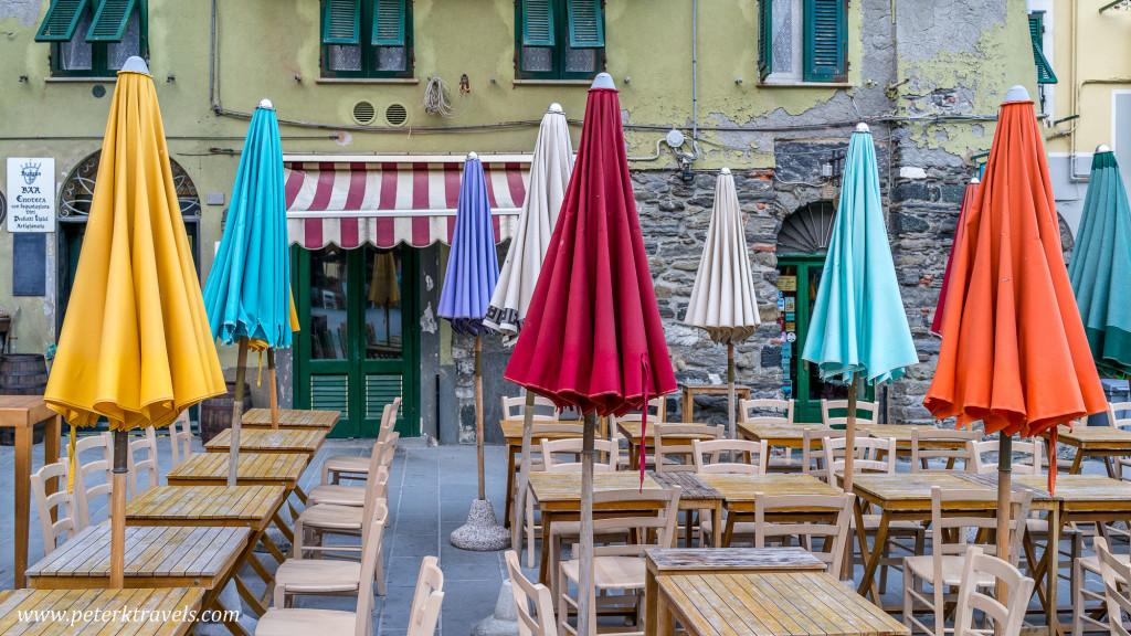 Unbrellas in Vernazza, Italy.