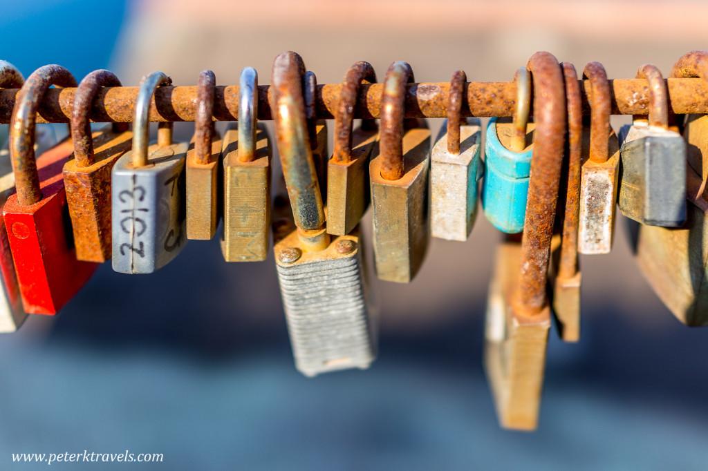 Locks in Vernazza, Italy.
