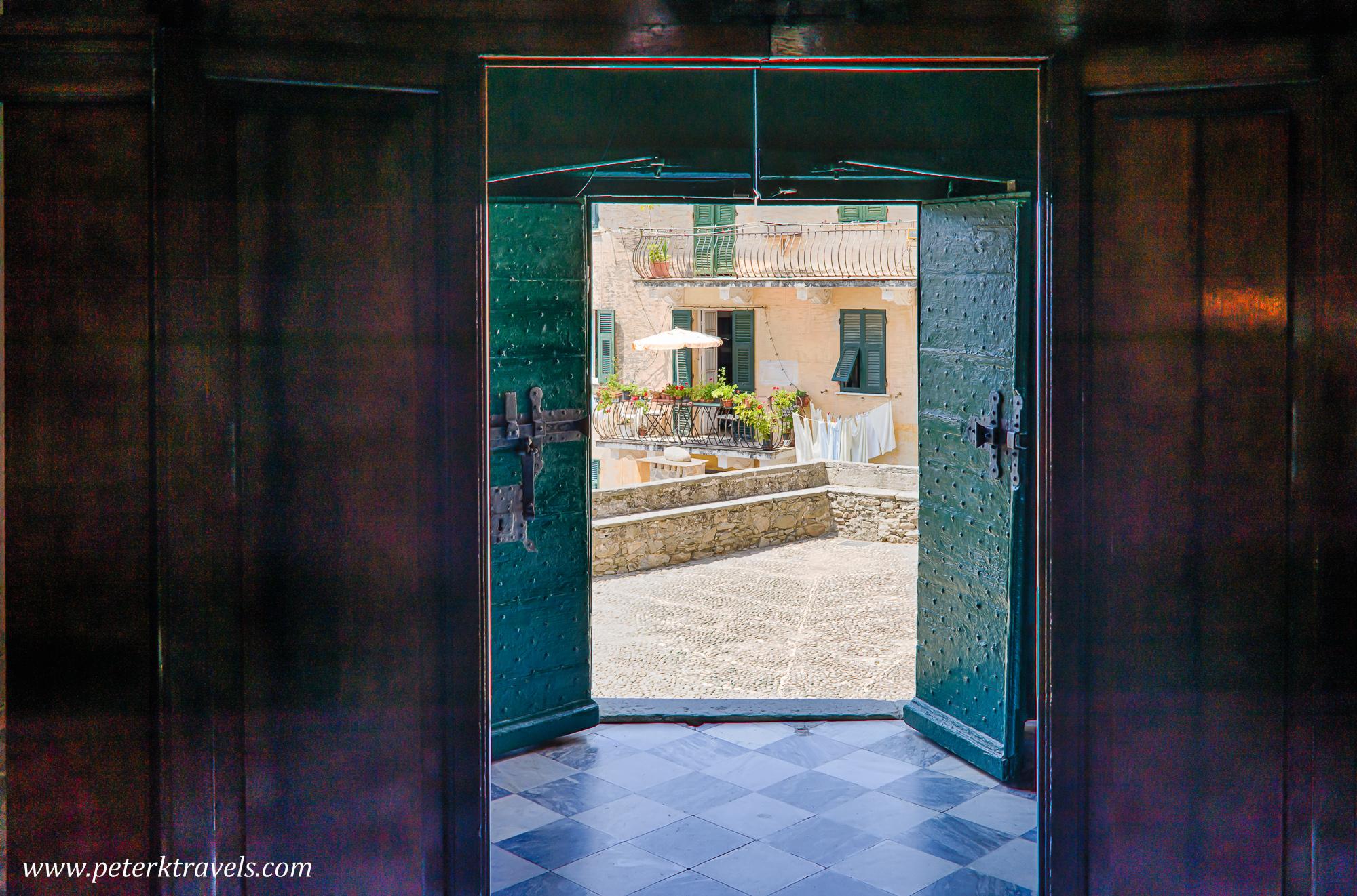looking out door. Looking Out Of A Double Church Door, Corniglia, Italy. Door K