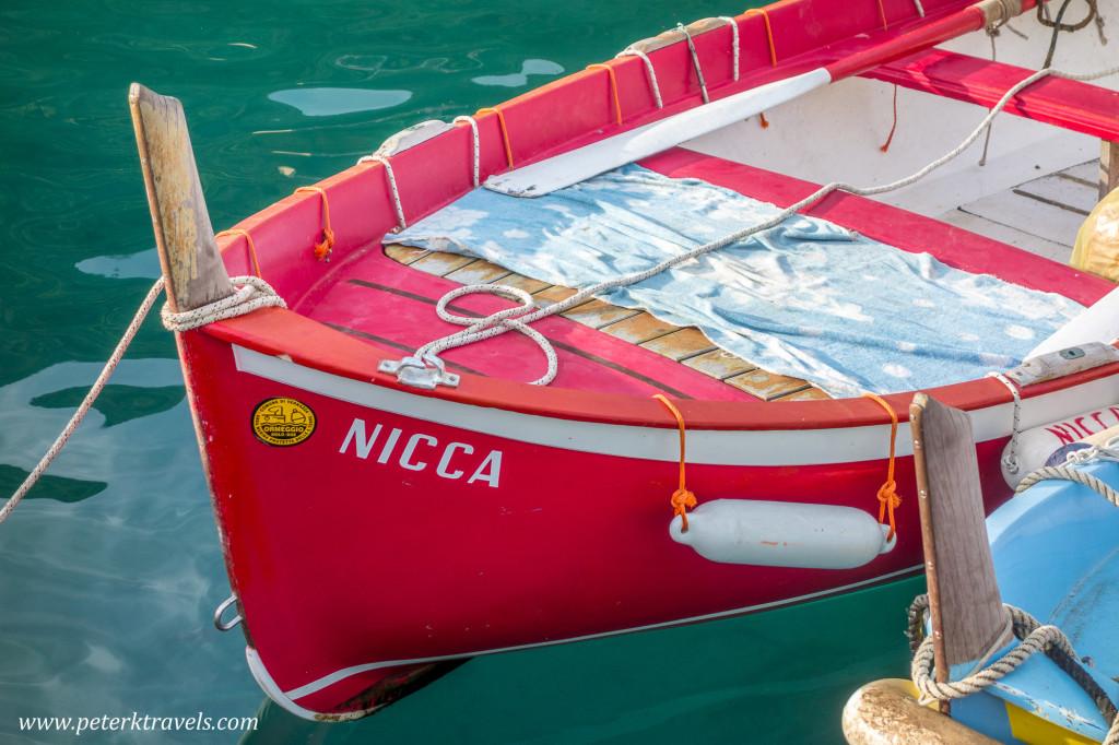 Boat in Vernazza Harbor, Italy.