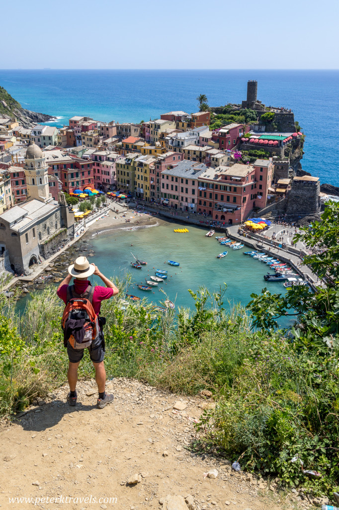 Tourist in Vernazza, Italy.