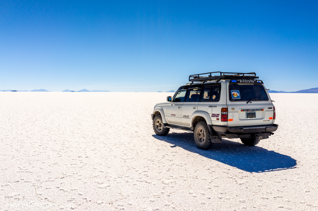 Toyota Land Cruiser on the Salar de Uyuni.