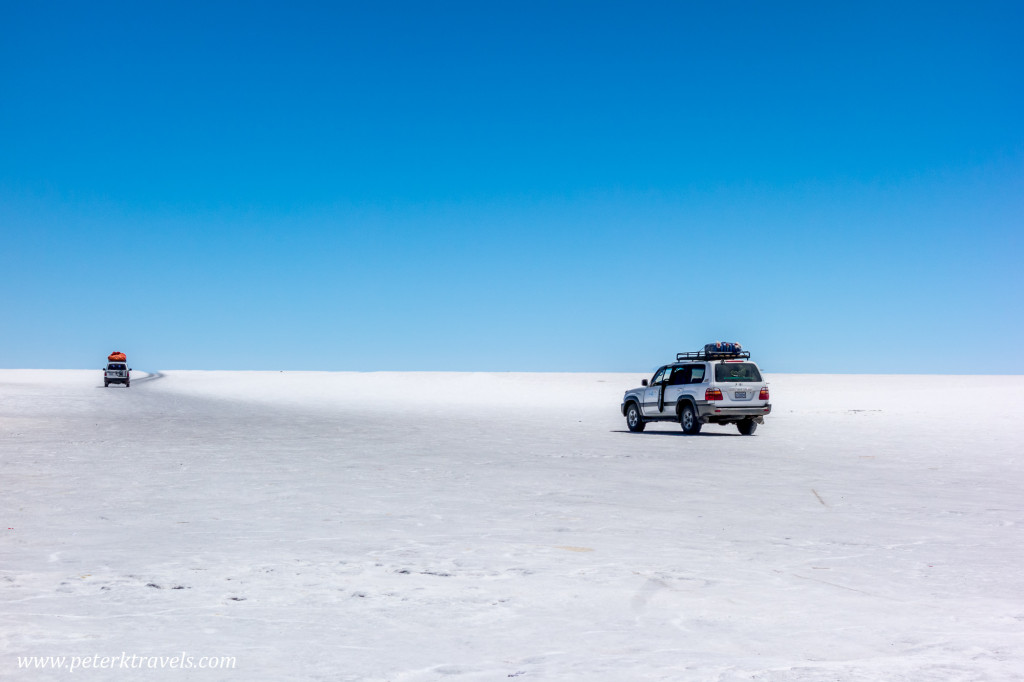Land Cruisers on the Salar de Uyuni