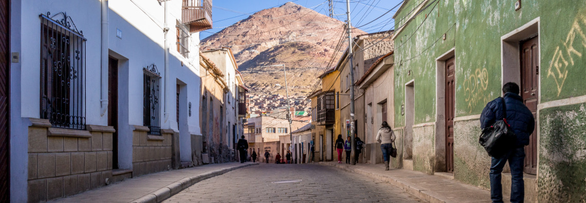 Street view with Cerro Rico, Potosi