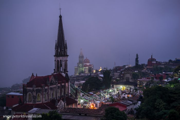 Churches in the fog, Cuetzalan.