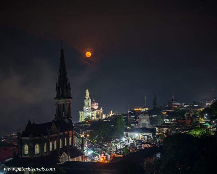 Churches with full moon, Cuetzalan.