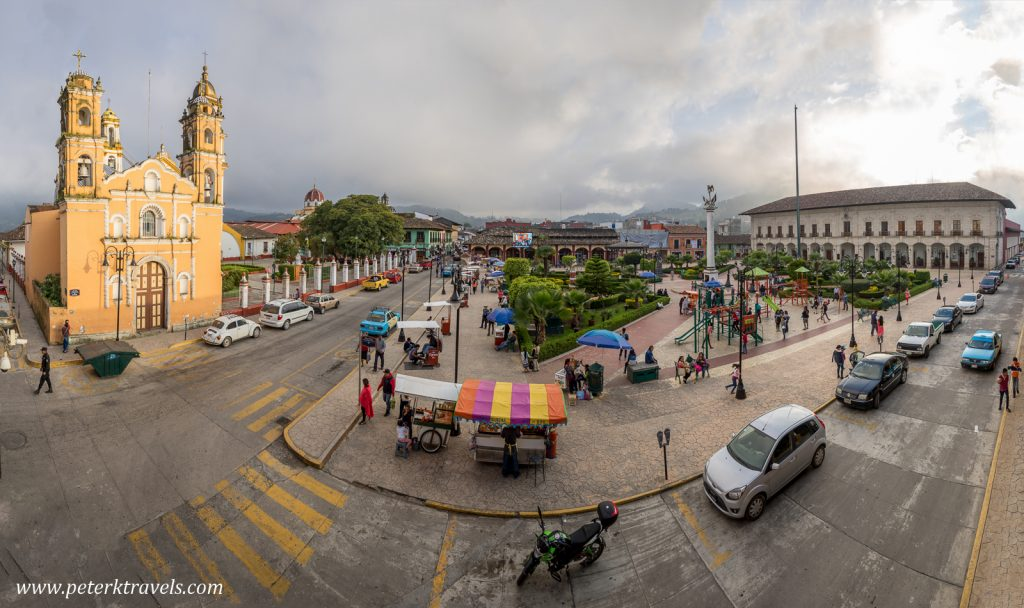 Fisheye view of square, Zacapoaxtla, Puebla.