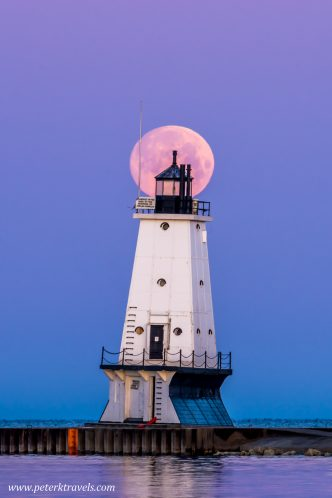 Ludington City lighthouse and moon