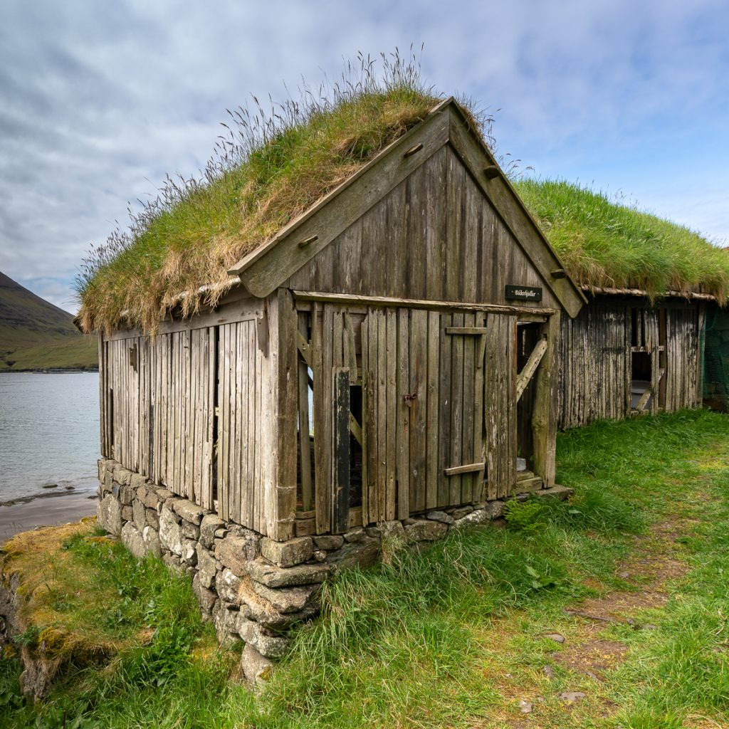 Boathouse in Bøur, Faroe Islands.