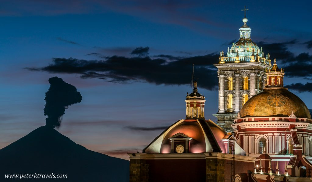 Puebla Cathedral and Popocatépetl